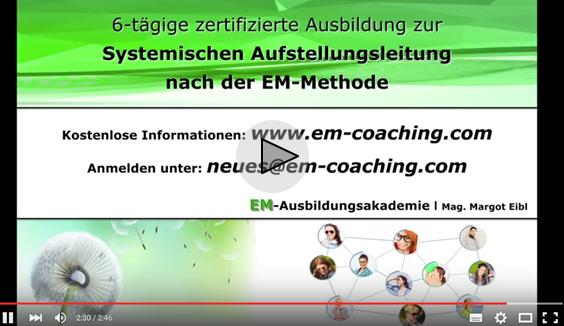 Ausbildung Aufstellungsleitung nach der EM-Methode der EM-Ausbildungsakademie Mag. Margot Eibl Videobutton